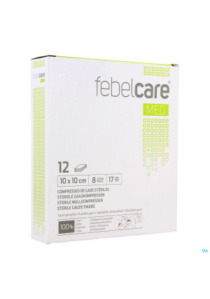 Febelcare Gaaskompres Steriel 10,0x10,0cm 12x13093366-20