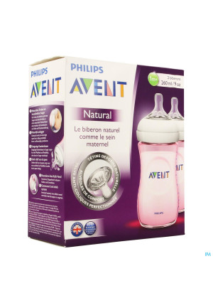 AVENT NATURAL ZUIGFLES ROZE DUO 260 ML3391380-20