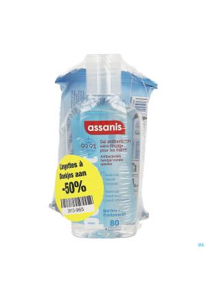 Assanis Pocket Gel 80ml +doekjes 12 1/2 Prijs3910965-20