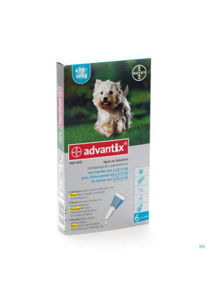 Advantix 100/ 500 Chiens 4<10kg Fl 6x1,0ml2764116-20