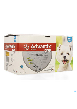 Advantix 100/ 500 Chiens 4<10kg Fl 24x1,0ml3162336-20