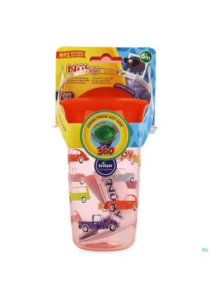 Nuby 360° Wonder Cup Uit Tritan 300ml Rood 6m+3978038-20